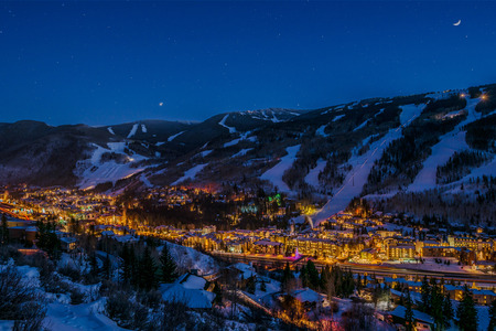 WPJ News   Vail glows with a warm winter ambience at night. (Courtesy Jeff Andrew/Vail Resorts)