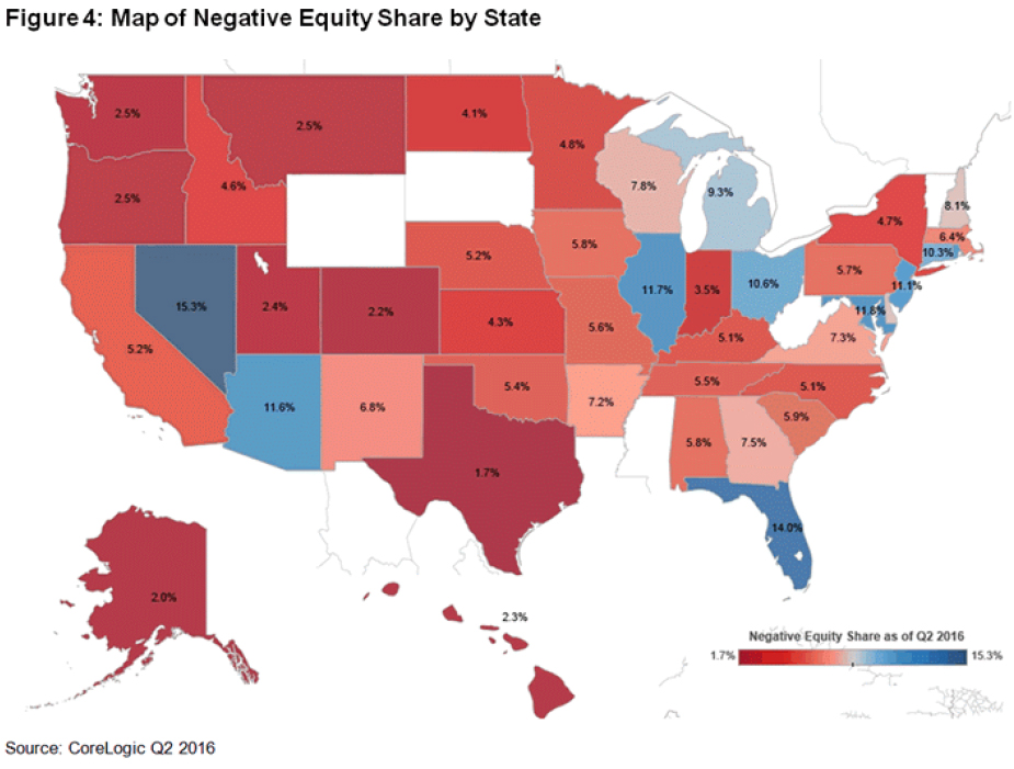 WPJ News | Map of Negative Equity Share by State 2016
