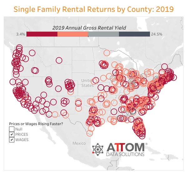 WPJ News | U.S. Single Family Rental Returns by County in 2019