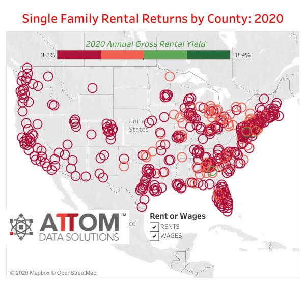WPJ News | US Single Family Rental Returns by County in 2020
